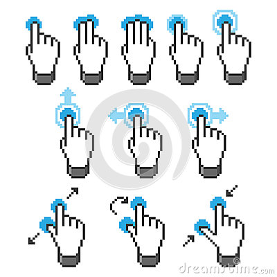 Pixel touch screen gestures