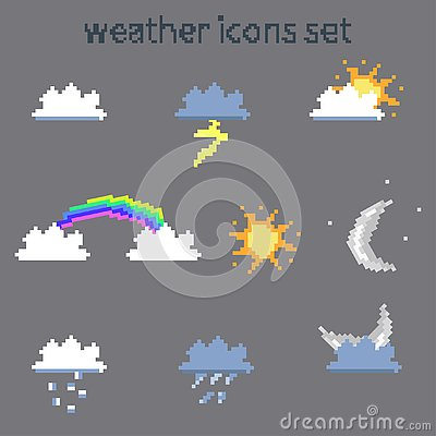 Pixel weather icons set on gray background vector image Stock Photo