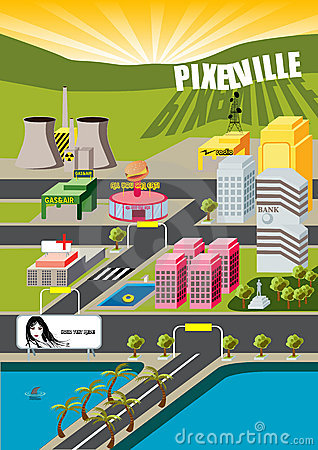 Free Pixelville City! Royalty Free Stock Photo - 2362235