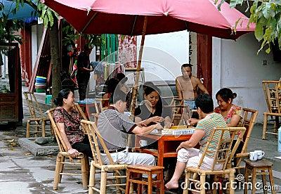 Pixian, China: Shopkeepers Playing Mahjong Editorial Image