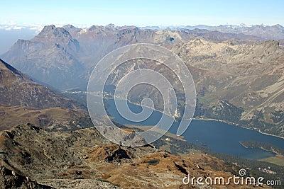 Piz Corvatch, lake of Silvaplana