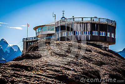 Piz Gloria revolving restaurant, Mount Schilthorn Editorial Stock Photo