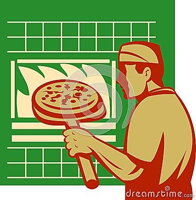 Pizza baker holding baking oven