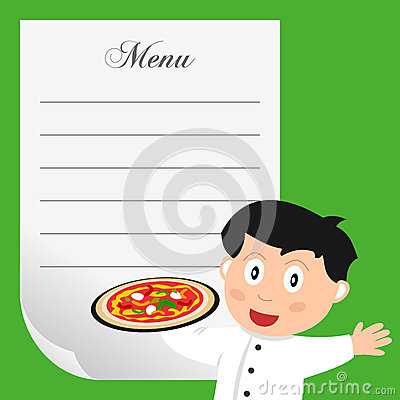 Pizza Chef with Blank Menu