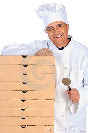 Pizza Chef Leaning on Boxes
