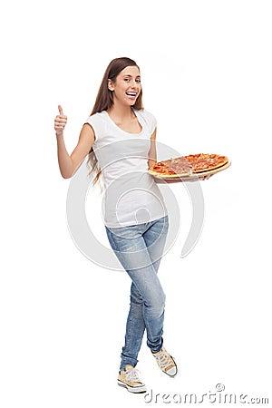 Pizza de fixation de femme