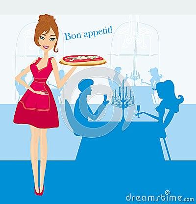 Pizza de sorriso do serviço da empregada de mesa