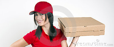 Smile Attractive Female Food Dinner Pizza Delivery