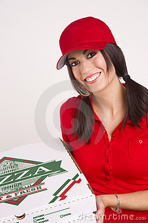 Driver Red Uniform Brings Food Pizza Delivery