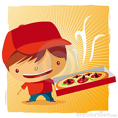 Free Pizza Delivery Boy Stock Photography - 19253712