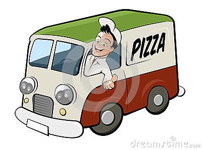 Pizza delivery driver in van