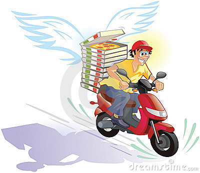 Pizza delivery hot and in time - friendly cartoon