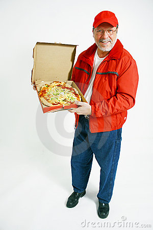 Pizza delivery man in uniform