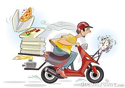 Pizza delivery service cartoon