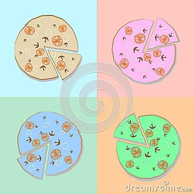 Pizza diferent colors illustration