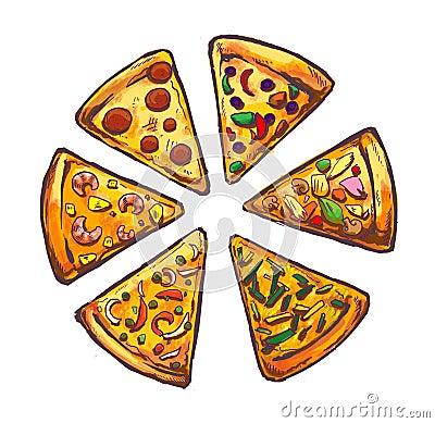 Pizza fast food illustration icon