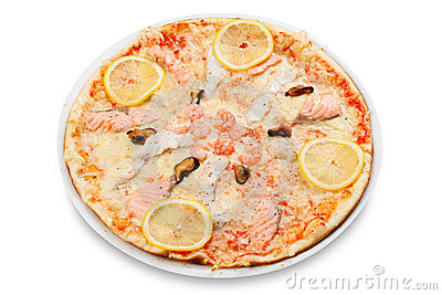 Pizza with  fish and seafood
