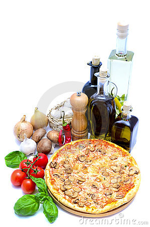 Pizza and food ingredients