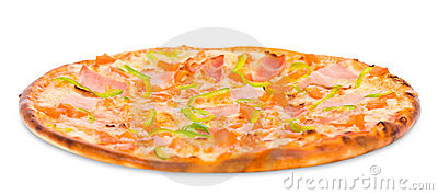 Pizza with ham and green paprika