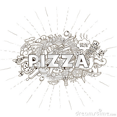 Free Pizza Hand Drawn Title Design Vector Stock Images - 61166324