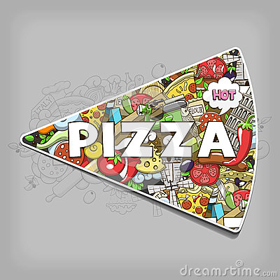 Free Pizza Hand Drawn Title Design Vector Illustration Royalty Free Stock Photo - 61166355