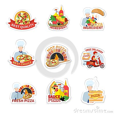 Free Pizza Label Set Royalty Free Stock Photography - 48419657