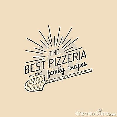 Free Pizza Logo. Vector Family Pizzeria Emblem, Icon. Vintage Hipster Italian Food Label. Royalty Free Stock Photos - 91022948