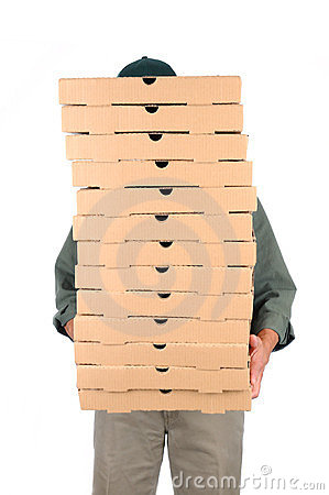 Pizza Man Behind Boxes