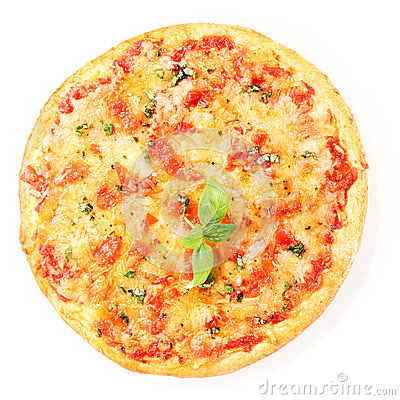 Pizza Margherita isolated on white