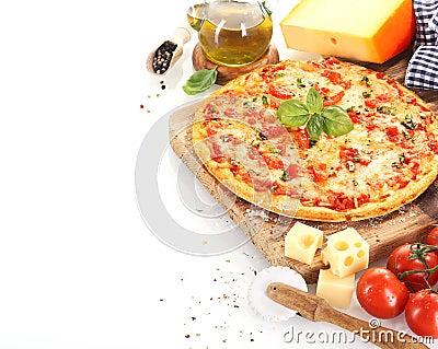 Pizza Margherita on white background