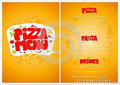 Pizza menu.