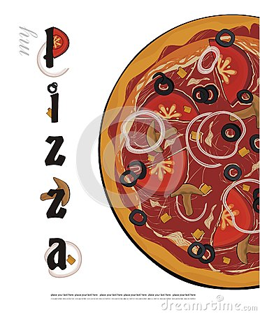 Pizza menu cover - vector drawing