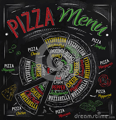 Free Pizza Menu Drawing With Color Chalk. Stock Photos - 37417193