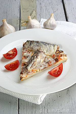 Pizza with mushrooms and sardine