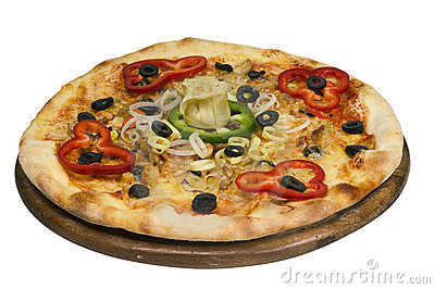 Pizza with olive isolated