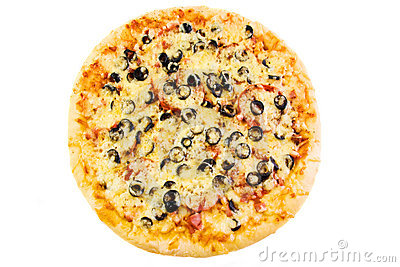 Pizza with olives, sausage and bacon
