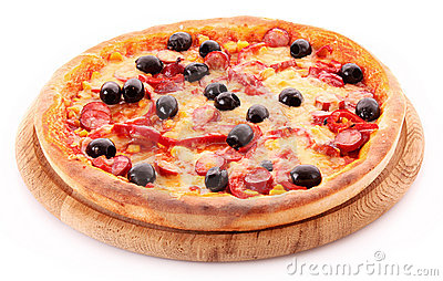Pizza with olives on wooden plate isolated