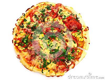 pizza over white