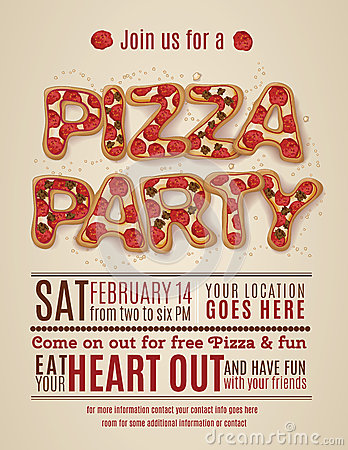 Pizza party invitation template stock vector image 50486250 for Pizza sale flyer template