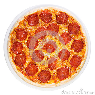 Pizza pepperoni from the top