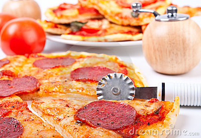 Pizza with a pizza-knife