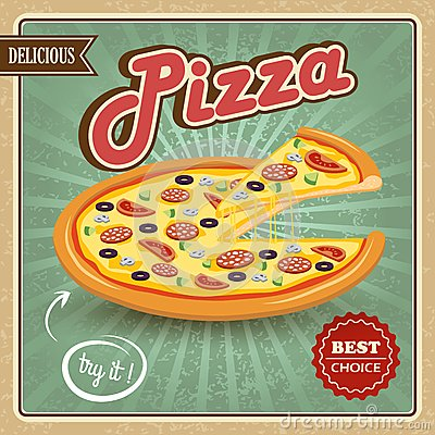 Free Pizza Retro Poster Royalty Free Stock Image - 40781576