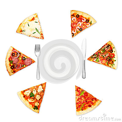 Pizza slice with different toppings