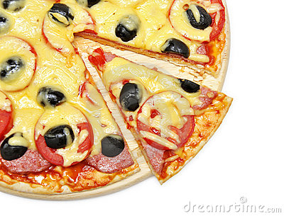 Pizza with a slice removed