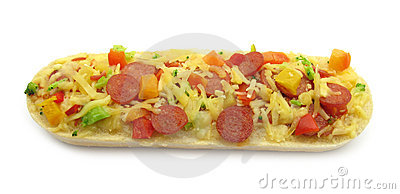 Pizza topped bruschetta baguette sandwich