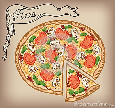 Free Pizza Vector Hand Drawn Stock Image - 42653351