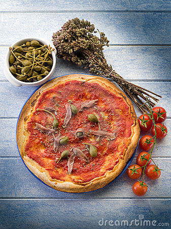 Free Pizza With Anchovies Royalty Free Stock Image - 23874156