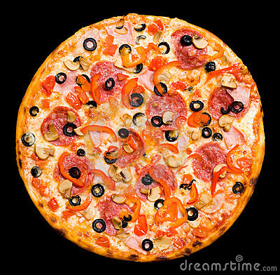 Free Pizza With Peperoni, Mushrooms And Ham, Isolated Royalty Free Stock Photography - 16478727