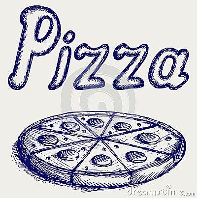 Pizzas. Doodle style