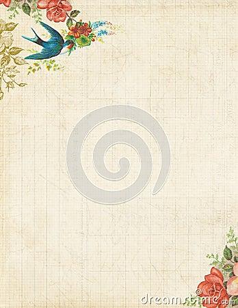 Pájaro imprimible y rosas inmóviles o fondo del vintage
